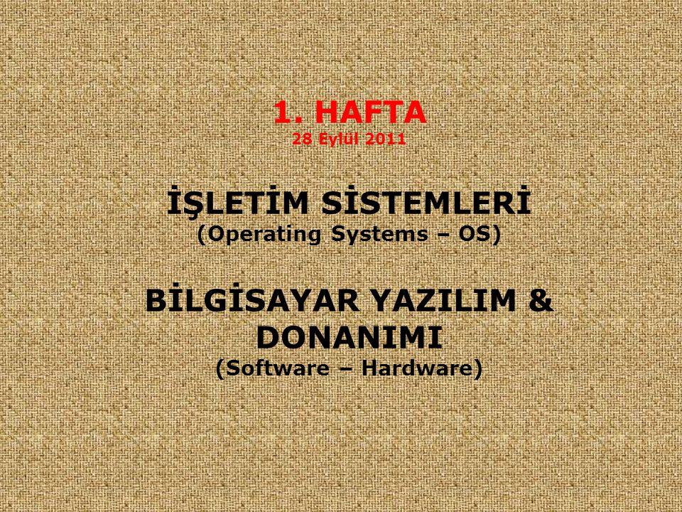 1. HAFTA 28 Eylül 2011 İŞLETİM SİSTEMLERİ (Operating Systems – OS) BİLGİSAYAR YAZILIM & DONANIMI (Software – Hardware)