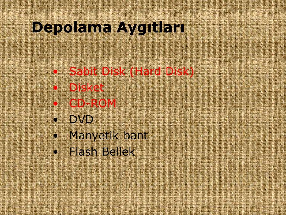 •Sabit Disk (Hard Disk) •Disket •CD-ROM •DVD •Manyetik bant •Flash Bellek Depolama Aygıtları