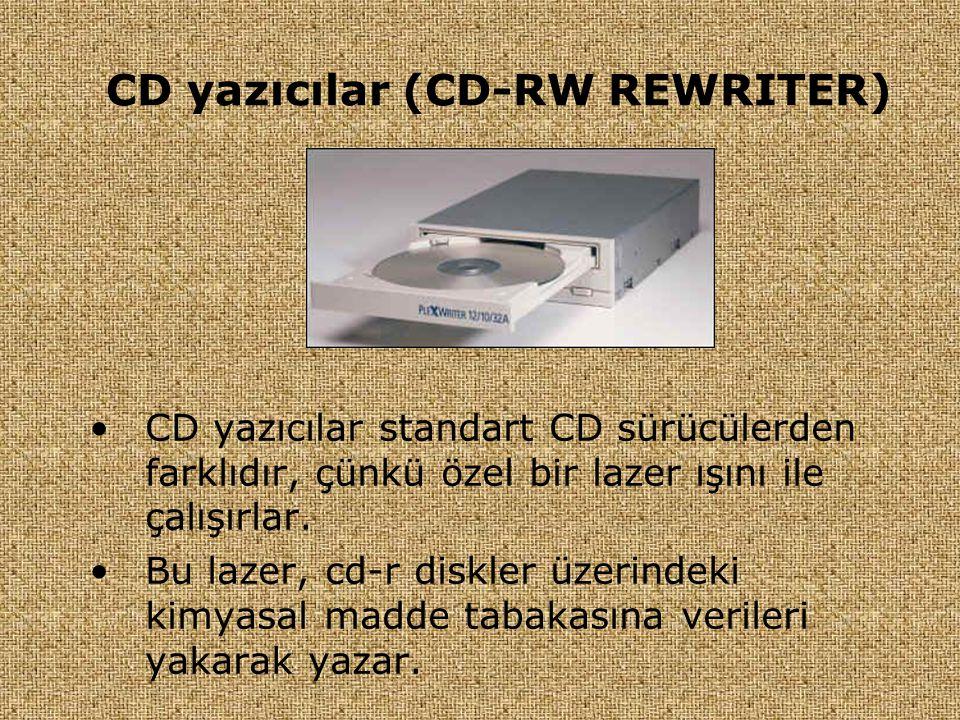 CD yazıcılar (CD-RW REWRITER) •CD yazıcılar standart CD sürücülerden farklıdır, çünkü özel bir lazer ışını ile çalışırlar. •Bu lazer, cd-r diskler üze