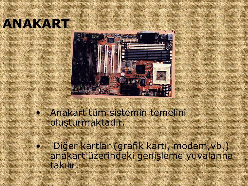 ANAKART •Anakart tüm sistemin temelini oluşturmaktadır. • Diğer kartlar (grafik kartı, modem,vb.) anakart üzerindeki genişleme yuvalarına takılır.