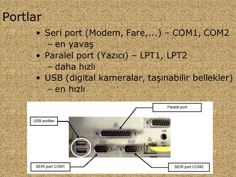 Portlar •Seri port (Modem, Fare,...) – COM1, COM2 –en yavaş •Paralel port (Yazıcı) – LPT1, LPT2 –daha hızlı •USB (digital kameralar, taşınabilir belle