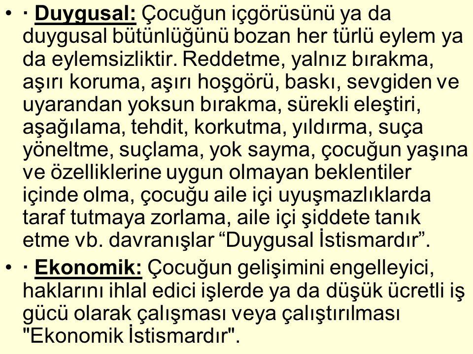 Sonuç : Bütün bu göstergeler Türk toplumunun çocuk gerçeğinin Çocuk Hakları Sözleşmesi ile ön görülen bazı hedeflerin oldukça gerisinde olduğunu, bazı ilkelerin gerçekleşmesi için ise kat edilmesi gereken belirli bir mesafe olduğunu göstermektedir.