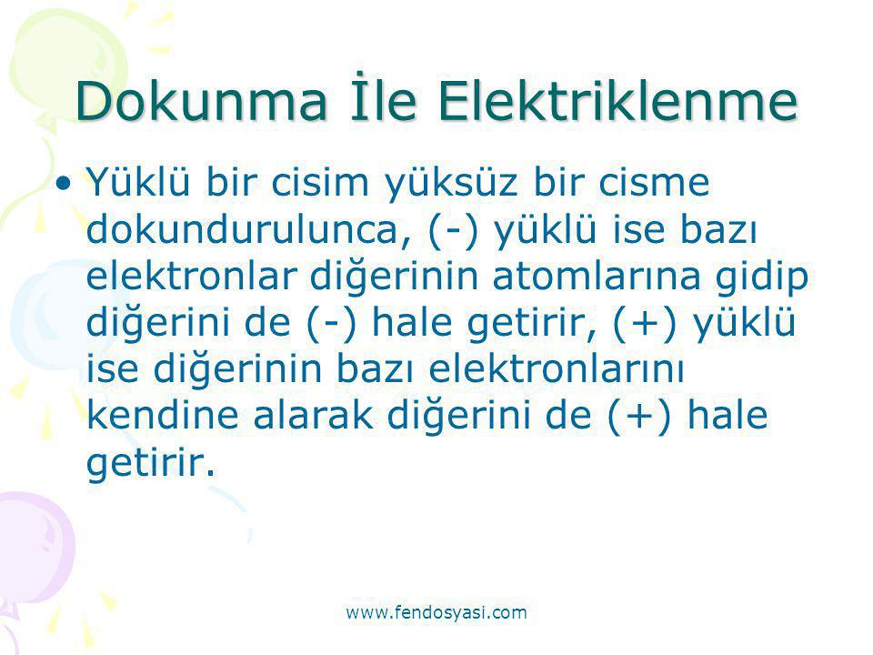 www.fendosyasi.com Dokunma İle Elektriklenme •Yüklü bir cisim yüksüz bir cisme dokundurulunca, (-) yüklü ise bazı elektronlar diğerinin atomlarına gid