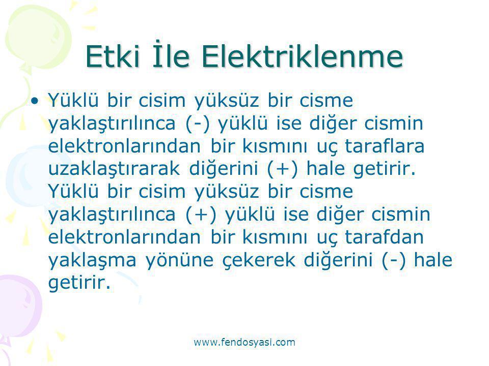 Etki İle Elektriklenme •Yüklü bir cisim yüksüz bir cisme yaklaştırılınca (-) yüklü ise diğer cismin elektronlarından bir kısmını uç taraflara uzaklaşt