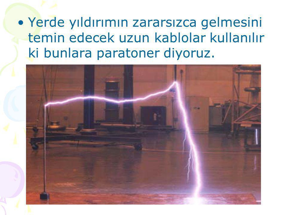 www.fendosyasi.com •Yerde yıldırımın zararsızca gelmesini temin edecek uzun kablolar kullanılır ki bunlara paratoner diyoruz.