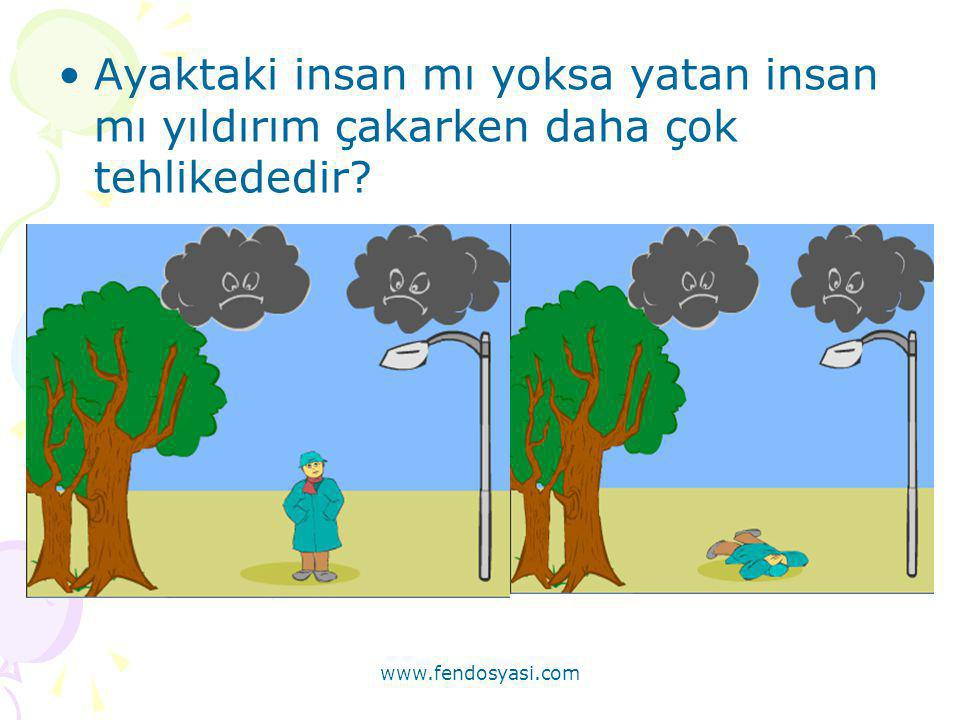 www.fendosyasi.com •Ayaktaki insan mı yoksa yatan insan mı yıldırım çakarken daha çok tehlikededir?