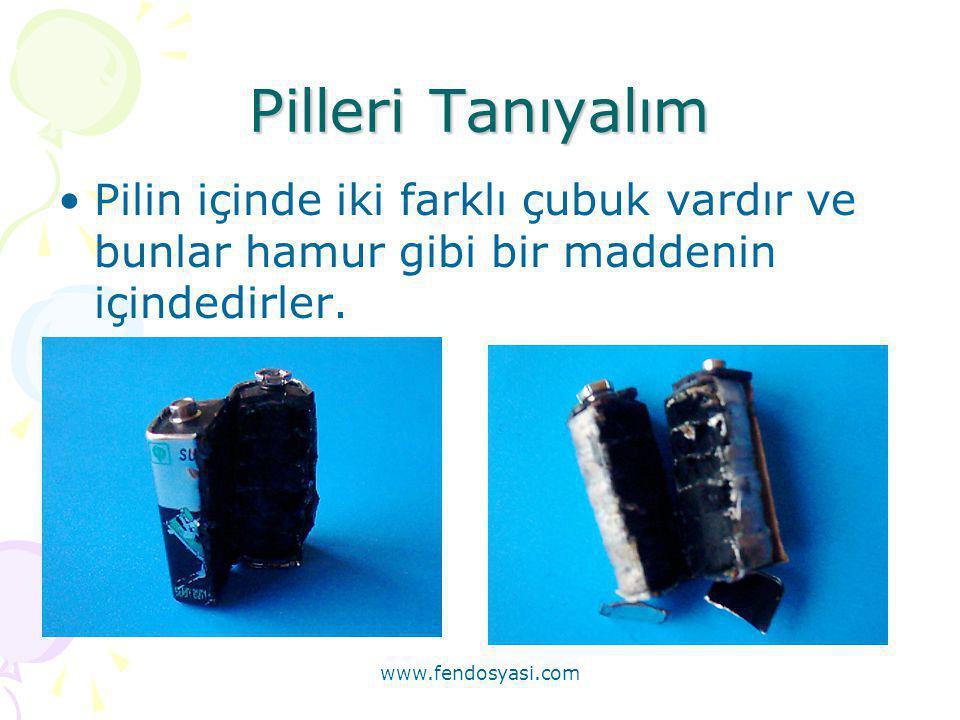 www.fendosyasi.com Pilleri Tanıyalım •Pilin içinde iki farklı çubuk vardır ve bunlar hamur gibi bir maddenin içindedirler.