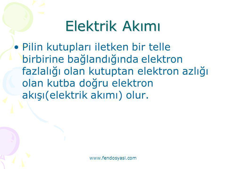 www.fendosyasi.com Elektrik Akımı •Pilin kutupları iletken bir telle birbirine bağlandığında elektron fazlalığı olan kutuptan elektron azlığı olan kut