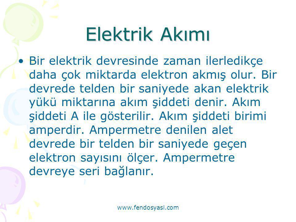 Elektrik Akımı •Bir elektrik devresinde zaman ilerledikçe daha çok miktarda elektron akmış olur. Bir devrede telden bir saniyede akan elektrik yükü mi