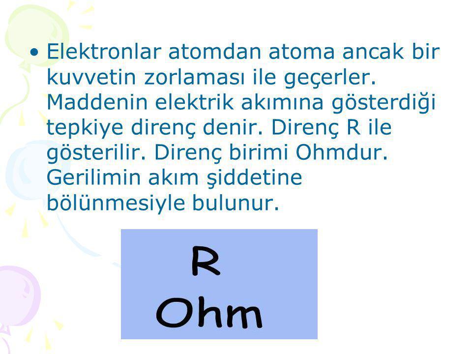 www.fendosyasi.com •Elektronlar atomdan atoma ancak bir kuvvetin zorlaması ile geçerler. Maddenin elektrik akımına gösterdiği tepkiye direnç denir. Di