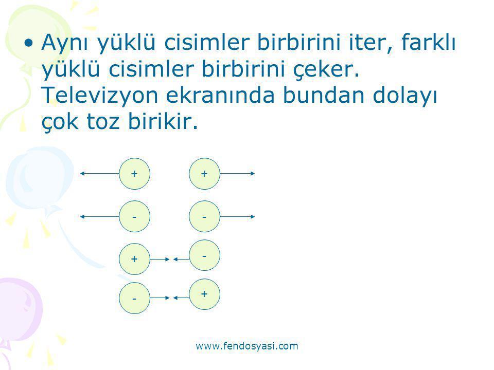 www.fendosyasi.com •Aynı yüklü cisimler birbirini iter, farklı yüklü cisimler birbirini çeker. Televizyon ekranında bundan dolayı çok toz birikir. ++