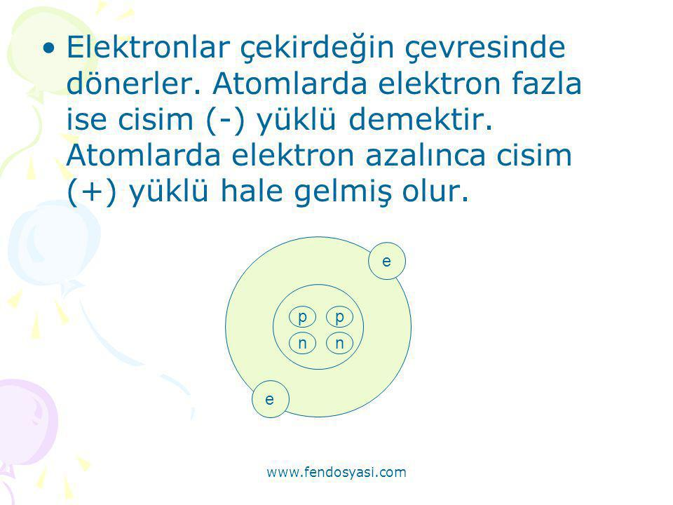 www.fendosyasi.com •Elektronlar çekirdeğin çevresinde dönerler. Atomlarda elektron fazla ise cisim (-) yüklü demektir. Atomlarda elektron azalınca cis