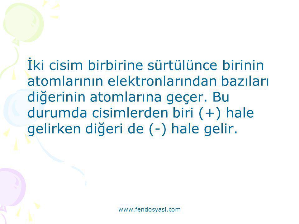 www.fendosyasi.com İki cisim birbirine sürtülünce birinin atomlarının elektronlarından bazıları diğerinin atomlarına geçer. Bu durumda cisimlerden bir