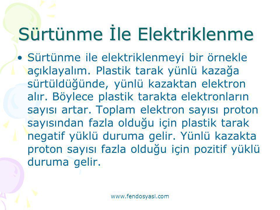 www.fendosyasi.com Dokunma İle Elektriklenme •Yüklü bir cisim yüksüz bir cisme dokundurulunca, (-) yüklü ise bazı elektronlar diğerinin atomlarına gidip diğerini de (-) hale getirir, (+) yüklü ise diğerinin bazı elektronlarını kendine alarak diğerini de (+) hale getirir.