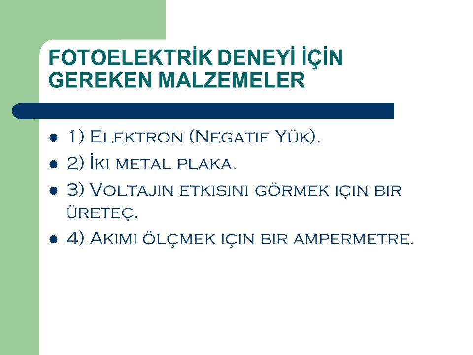 FOTOELEKTRİK DENEYİ İÇİN GEREKEN MALZEMELER  1) Elektron (Negatif Yük).