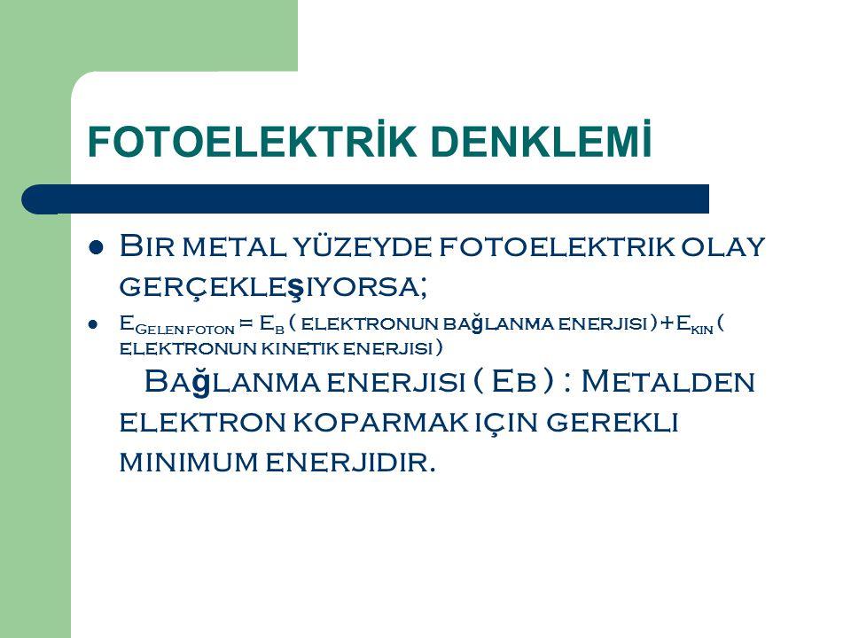 FOTOELEKTRİK DENKLEMİ  Bir metal yüzeyde fotoelektrik olay gerçekle ş iyorsa;  E Gelen foton = E b ( elektronun ba ğ lanma enerjisi )+E kin ( elektronun kinetik enerjisi ) Ba ğ lanma enerjisi ( Eb ) : Metalden elektron koparmak için gerekli minimum enerjidir.