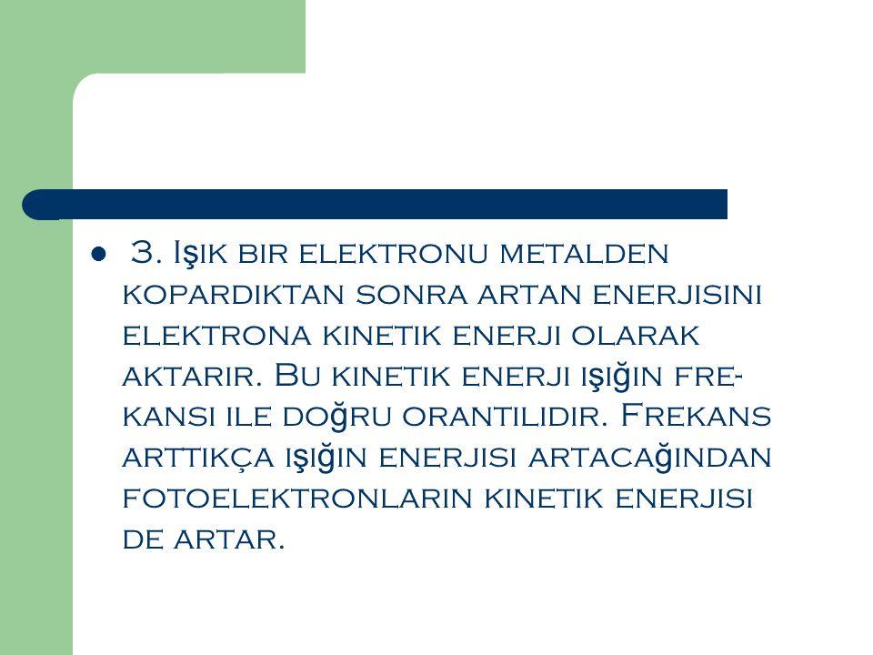  3. I ş ık bir elektronu metalden kopardıktan sonra artan enerjisini elektrona kinetik enerji olarak aktarır. Bu kinetik enerji ı ş ı ğ ın fre kansı