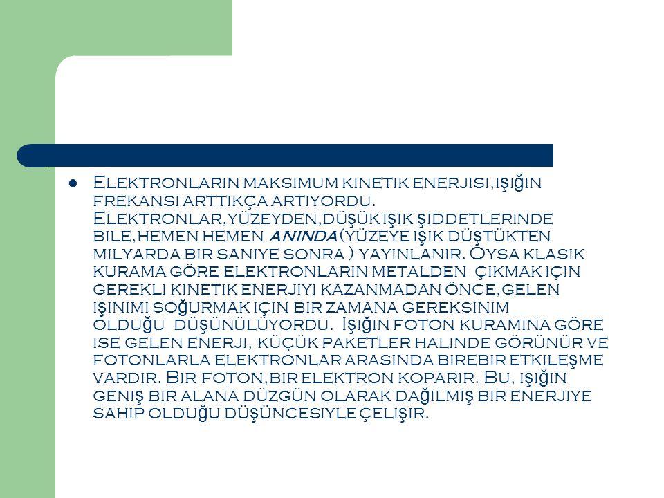  Elektronların maksimum kinetik enerjisi,ı ş ı ğ ın frekansı arttıkça artıyordu.