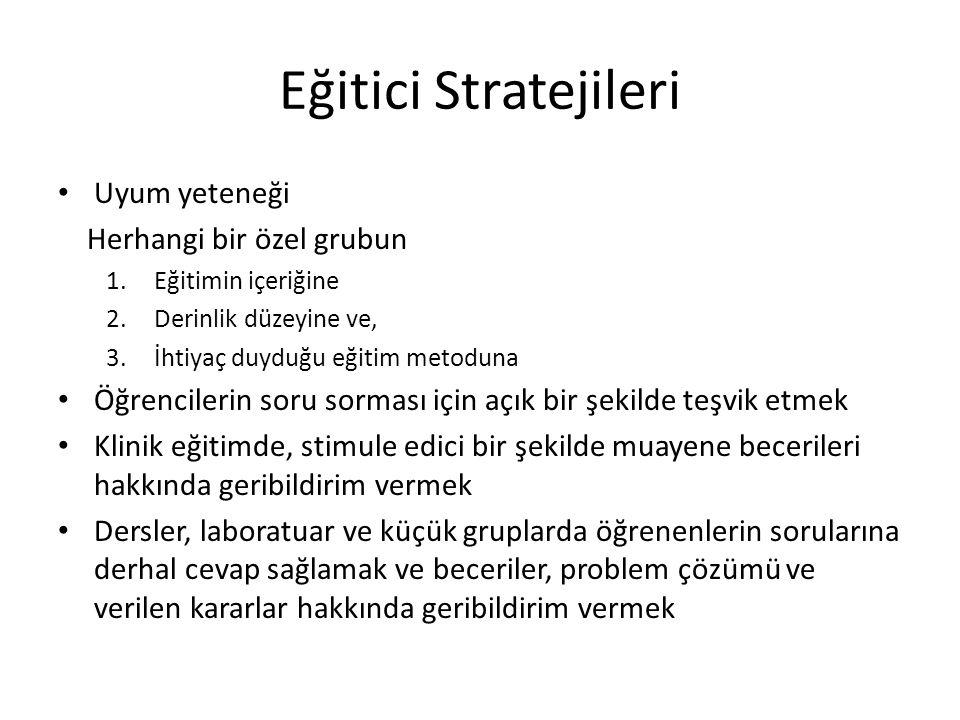 Eğitici Stratejileri • Uyum yeteneği Herhangi bir özel grubun 1.Eğitimin içeriğine 2.Derinlik düzeyine ve, 3.İhtiyaç duyduğu eğitim metoduna • Öğrenci