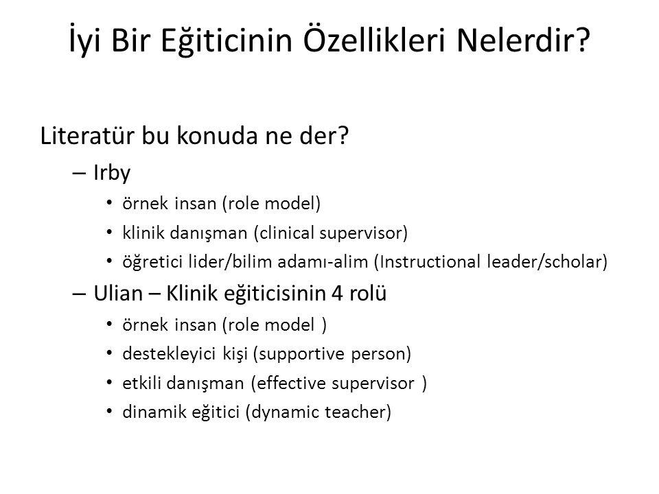 İyi Bir Eğiticinin Özellikleri Nelerdir? Literatür bu konuda ne der? – Irby • örnek insan (role model) • klinik danışman (clinical supervisor) • öğret