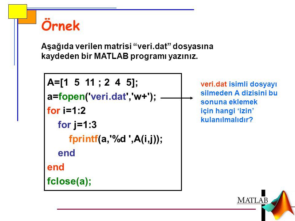 """Örnek Aşağıda verilen matrisi """"veri.dat"""" dosyasına kaydeden bir MATLAB programı yazınız. A=[1 5 11 ; 2 4 5]; a=fopen('veri.dat','w+'); for i=1:2 for j"""