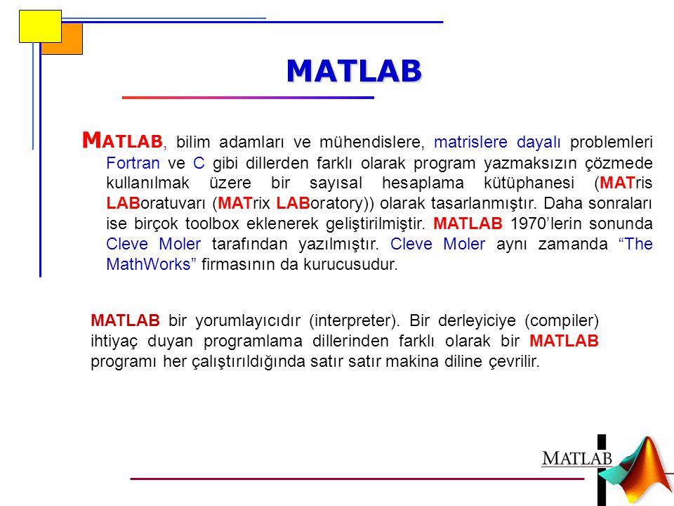 Örnek Aşağıda verilen M dizisini (vektörünü) bir dosyaya kaydeden bir MATLAB programı yazınız M=[1 2 3 4]; a=fopen( veri.dat , w ); fprintf (a, %d %d %d %d ,M); fclose(a); M=[1 2 3 4]; a=fopen( veri.dat , w ); for i=1:4 fprintf(a, %d ,M(i)); end fclose(a); For döngüsü ile: