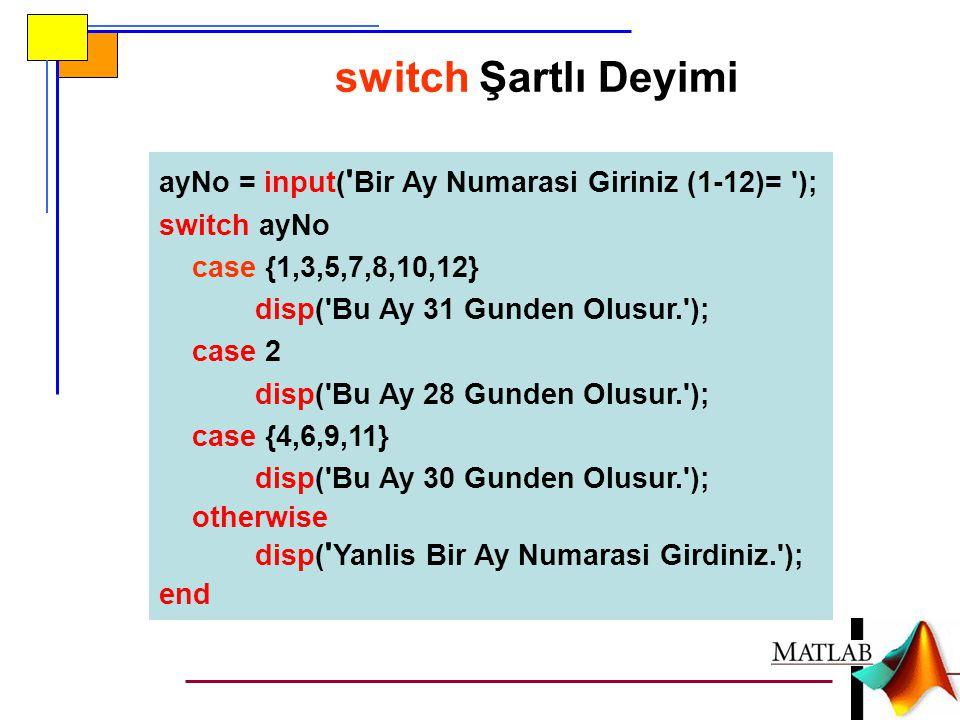 ayNo = input( ' Bir Ay Numarasi Giriniz (1-12)= '); switch ayNo case {1,3,5,7,8,10,12} disp('Bu Ay 31 Gunden Olusur.'); case 2 disp('Bu Ay 28 Gunden O