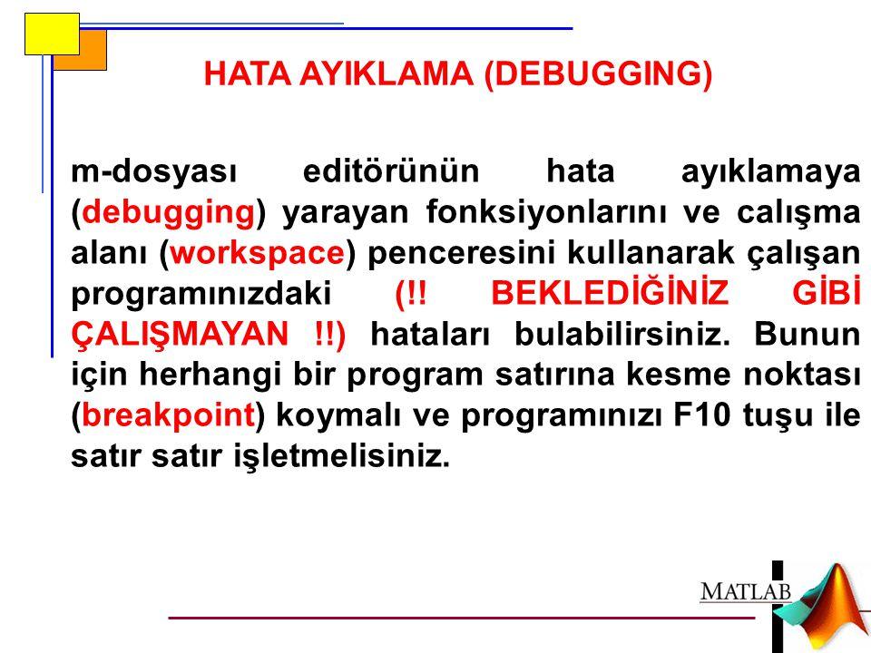 HATA AYIKLAMA (DEBUGGING) m-dosyası editörünün hata ayıklamaya (debugging) yarayan fonksiyonlarını ve calışma alanı (workspace) penceresini kullanarak
