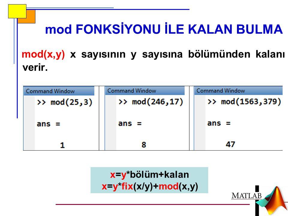 mod FONKSİYONU İLE KALAN BULMA mod(x,y) x sayısının y sayısına bölümünden kalanı verir. x=y*bölüm+kalan x=y*fix(x/y)+mod(x,y)