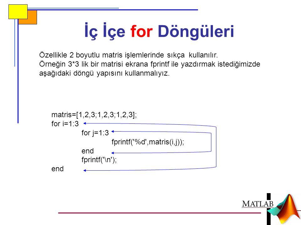 İç İçe for Döngüleri Özellikle 2 boyutlu matris işlemlerinde sıkça kullanılır. Örneğin 3*3 lik bir matrisi ekrana fprintf ile yazdırmak istediğimizde