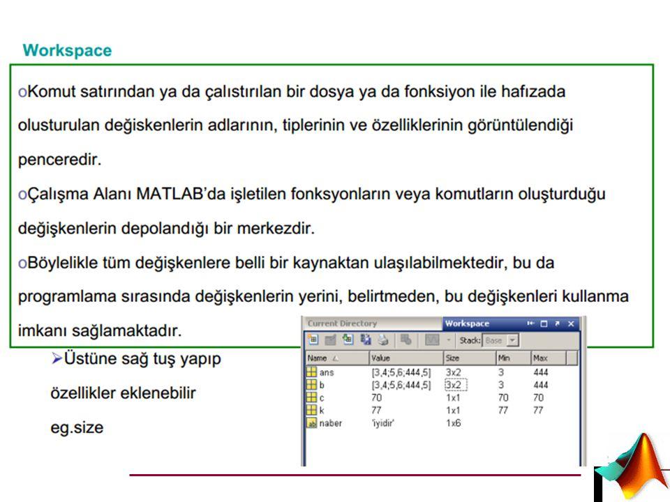 Örnek 1*5 lik matrisin en büyük ve en küçük elemanını bulma.