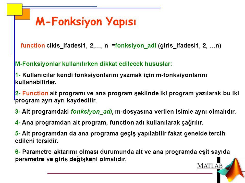 M-Fonksiyon Yapısı function cikis_ifadesi1, 2,…, n =fonksiyon_adi (giris_ifadesi1, 2, …n) M-Fonksiyonlar kullanılırken dikkat edilecek hususlar: 1- Ku