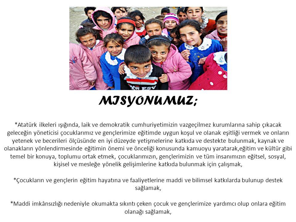 MISYONUMUZ; *Atatürk ilkeleri ışığında, laik ve demokratik cumhuriyetimizin vazgeçilmez kurumlarına sahip çıkacak geleceğin yöneticisi çocuklarımız ve