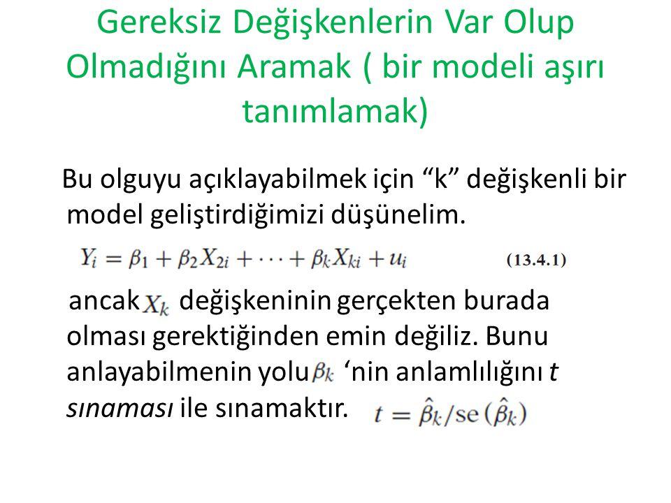 """Gereksiz Değişkenlerin Var Olup Olmadığını Aramak ( bir modeli aşırı tanımlamak) Bu olguyu açıklayabilmek için """"k"""" değişkenli bir model geliştirdiğimi"""