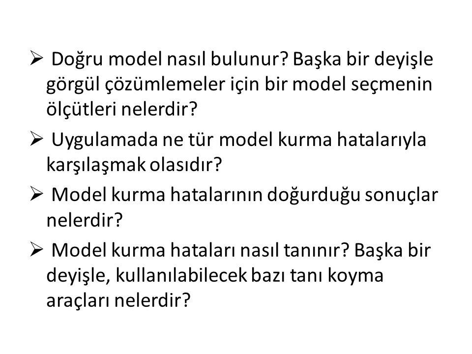  Doğru model nasıl bulunur? Başka bir deyişle görgül çözümlemeler için bir model seçmenin ölçütleri nelerdir?  Uygulamada ne tür model kurma hatalar