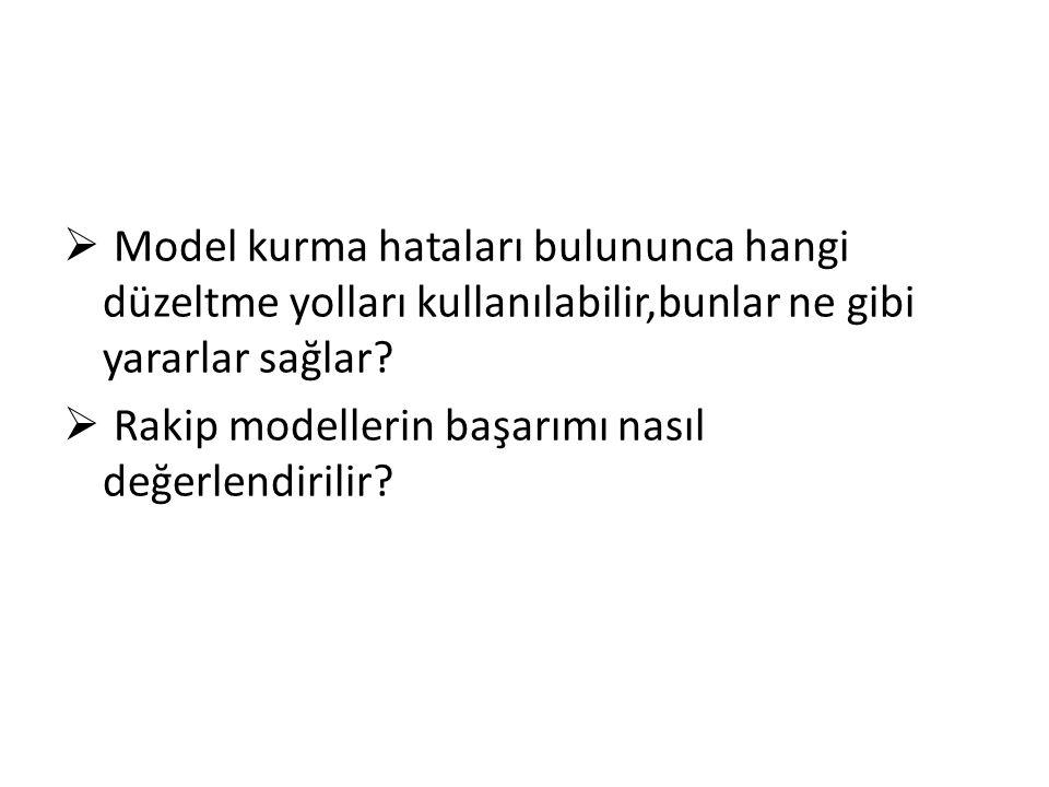 13.7 Yuvalanmış Modeller- Yuvalanmamış Modeller Her iki modelin ayrımını yapabilmek için şu modelleri ele alalım; A modeli: B modeli: B modeli A modelinin özel bir durumu olduğundan A modeli içerisinde yuvarlanmıştır diyoruz.