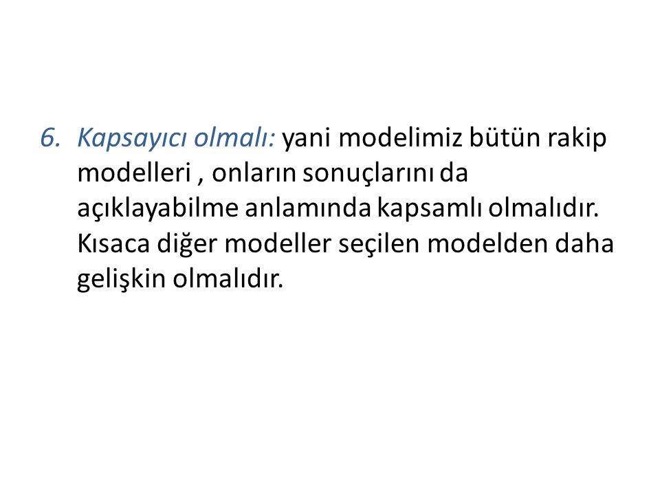 6.Kapsayıcı olmalı: yani modelimiz bütün rakip modelleri, onların sonuçlarını da açıklayabilme anlamında kapsamlı olmalıdır. Kısaca diğer modeller seç