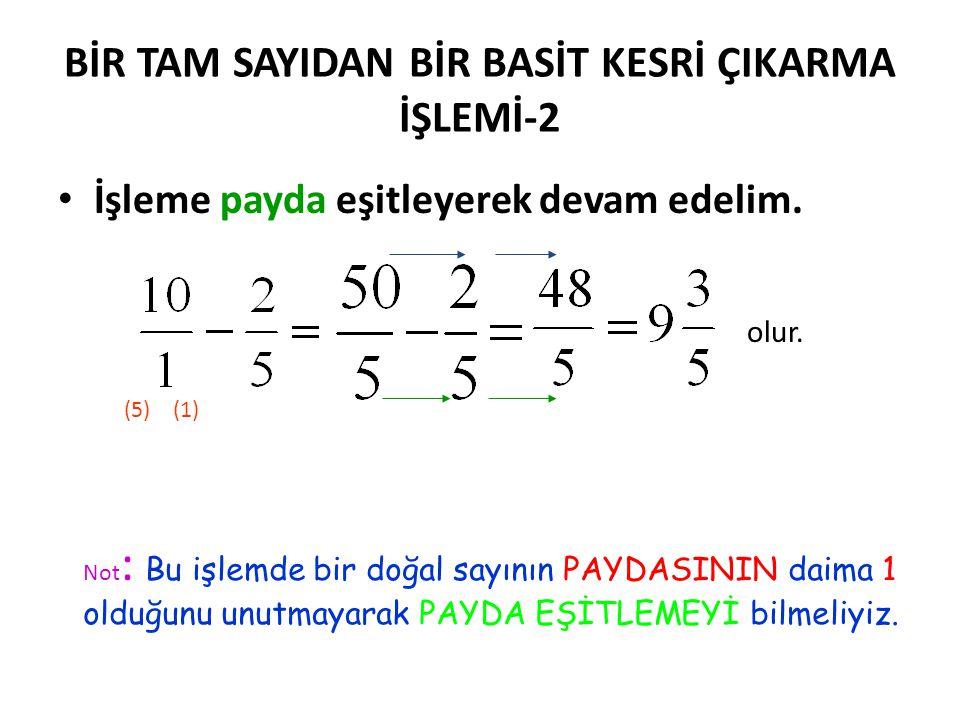 BİR TAM SAYIDAN BİR BASİT KESRİ ÇIKARMA-1 •B•Bir tam sayının yani bir doğal sayının PAYDASININ d aima 1 olduğunu unutmayalım. •Ö•Ö rnek: =? İşlemini b