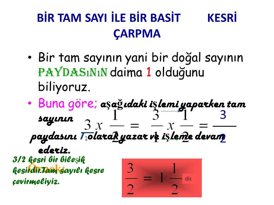 KESİRLERDE ÇARPMA İŞLEMİ •A•A) Bir basit kesirle bir basit kesri çarpma işlemi: P AY i le pay çarpılır, paya yazılır.