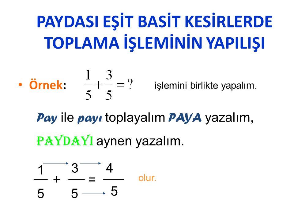 KESİRLERDE DÖRT İŞLEM a) Paydası eşit basit kesirlerde toplama işlemi: P AY ile P AY toplanır, P AYA yazılır,ortak P AYDALARDAN biri aynen yazılır.