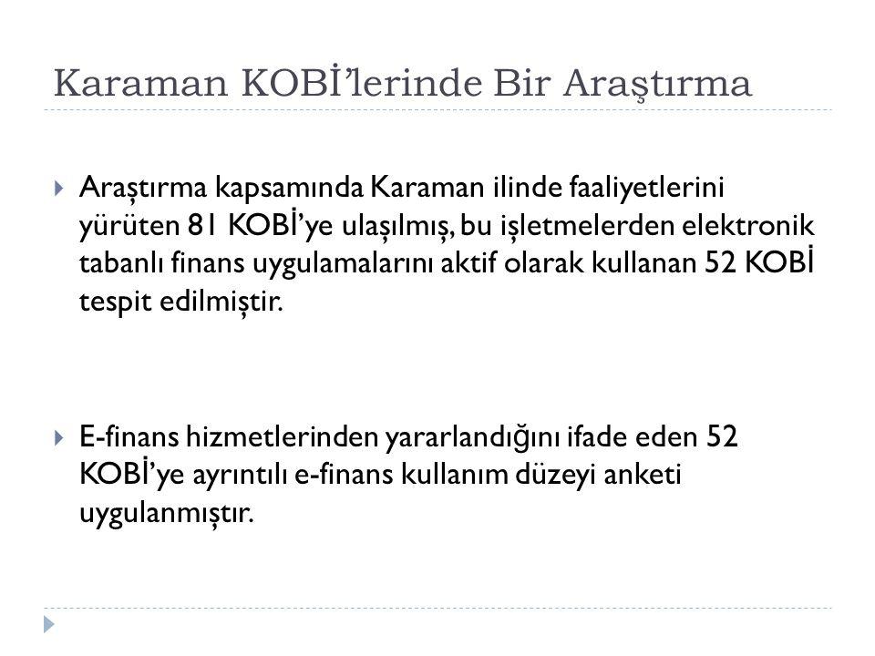 Karaman KOBİ'lerinde Bir Araştırma  Araştırma kapsamında Karaman ilinde faaliyetlerini yürüten 81 KOB İ 'ye ulaşılmış, bu işletmelerden elektronik ta