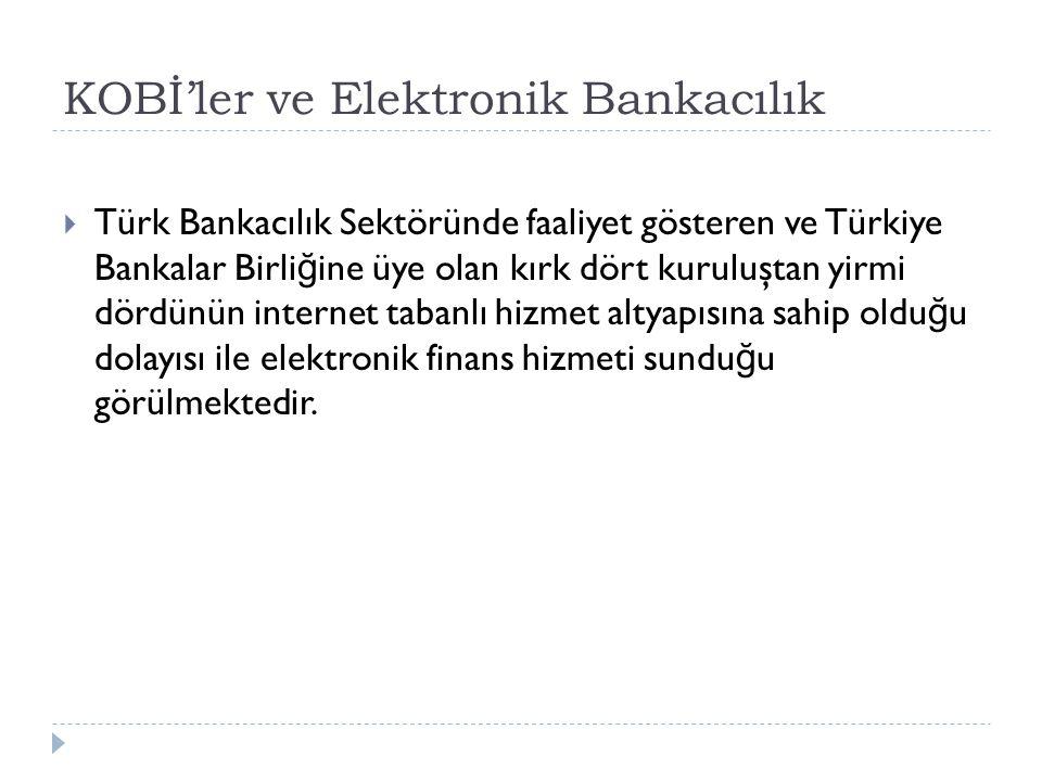 KOBİ'ler ve Elektronik Bankacılık  Türk Bankacılık Sektöründe faaliyet gösteren ve Türkiye Bankalar Birli ğ ine üye olan kırk dört kuruluştan yirmi d
