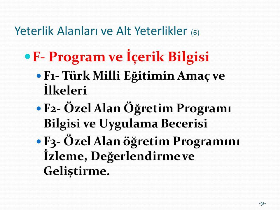 -31- Yeterlik Alanları ve Alt Yeterlikler (6)  F- Program ve İçerik Bilgisi  F1- Türk Milli Eğitimin Amaç ve İlkeleri  F2- Özel Alan Öğretim Progra