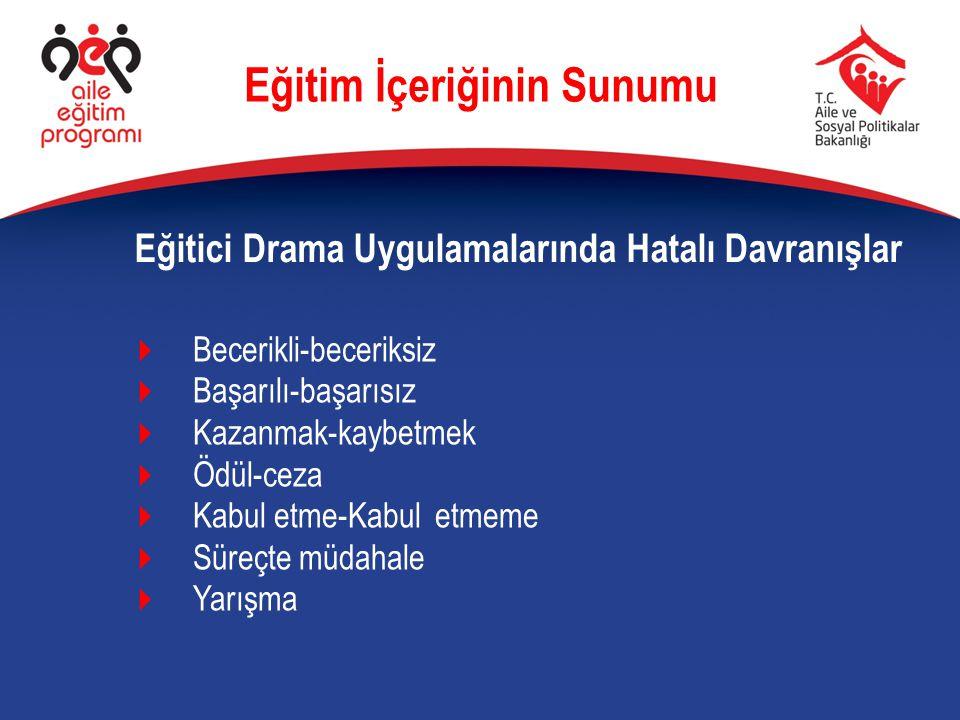 Eğitici Drama Uygulamalarında Hatalı Davranışlar Eğitim İçeriğinin Sunumu  Becerikli-beceriksiz  Başarılı-başarısız  Kazanmak-kaybetmek  Ödül-ceza