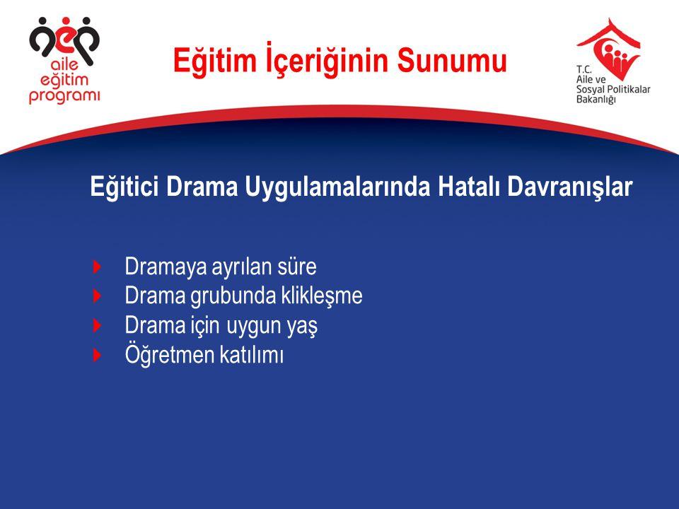 Eğitici Drama Uygulamalarında Hatalı Davranışlar Eğitim İçeriğinin Sunumu  Dramaya ayrılan süre  Drama grubunda klikleşme  Drama için uygun yaş  Ö
