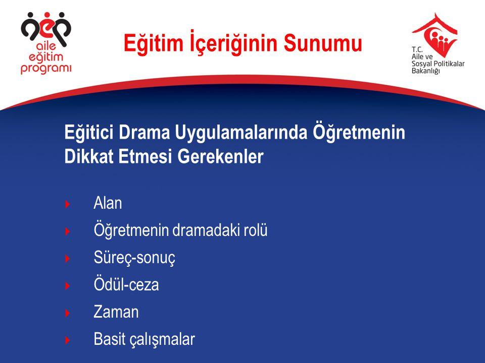 Eğitici Drama Uygulamalarında Öğretmenin Dikkat Etmesi Gerekenler Eğitim İçeriğinin Sunumu  Alan  Öğretmenin dramadaki rolü  Süreç-sonuç  Ödül-cez