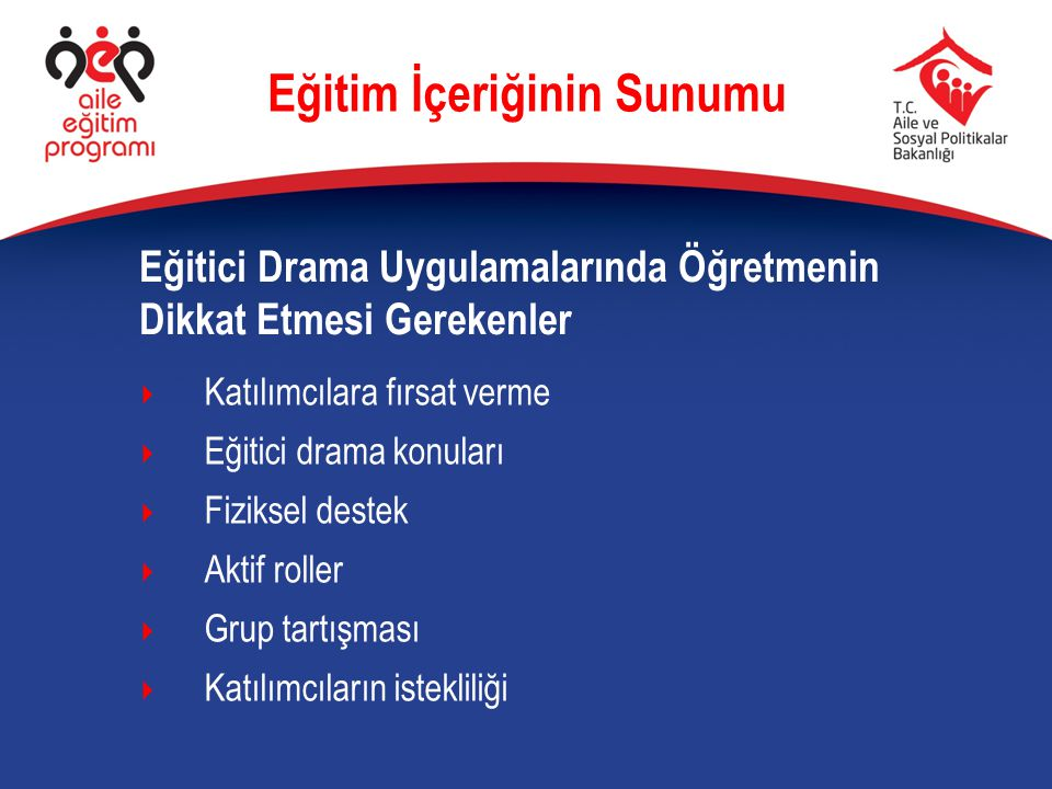 Eğitici Drama Uygulamalarında Öğretmenin Dikkat Etmesi Gerekenler Eğitim İçeriğinin Sunumu  Katılımcılara fırsat verme  Eğitici drama konuları  Fiz