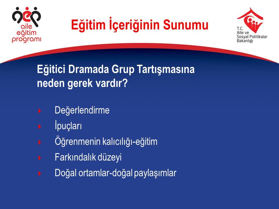 Eğitici Dramada Grup Tartışmasına neden gerek vardır? Eğitim İçeriğinin Sunumu  Değerlendirme  İpuçları  Öğrenmenin kalıcılığı-eğitim  Farkındalık