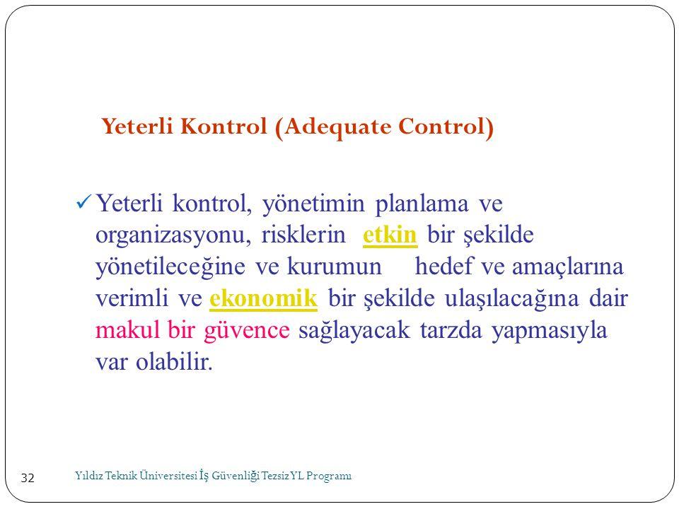 32 Yeterli Kontrol (Adequate Control)  Yeterli kontrol, yönetimin planlama ve organizasyonu, risklerin etkin bir şekilde yönetileceğine ve kurumun he