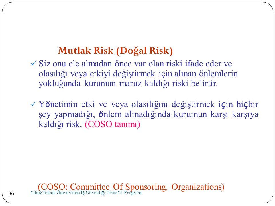 36 Mutlak Risk (Do ğ al Risk)  Siz onu ele almadan önce var olan riski ifade eder ve olasılığı veya etkiyi değiştirmek için alınan önlemlerin yokluğu